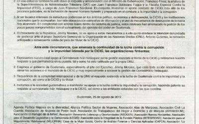 Pronunciamiento en rechazo a la arbitraria destitución del Comisionado Iván Velázquez de la CICIG