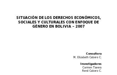 Situación de los Derechos Económicos, Sociales y Culturales con perspectiva de Género en Bolivia