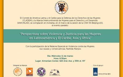 CSW 59 – Evento paralelo «Perspectivas sobre Violencia y Justicia para las Mujeres en Latinoamerica y el Caribe, Asia y África»