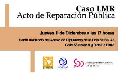 CLADEM, INSGENAR y CDD Argentina invitan a Acto de Reparación, Caso «LMR»