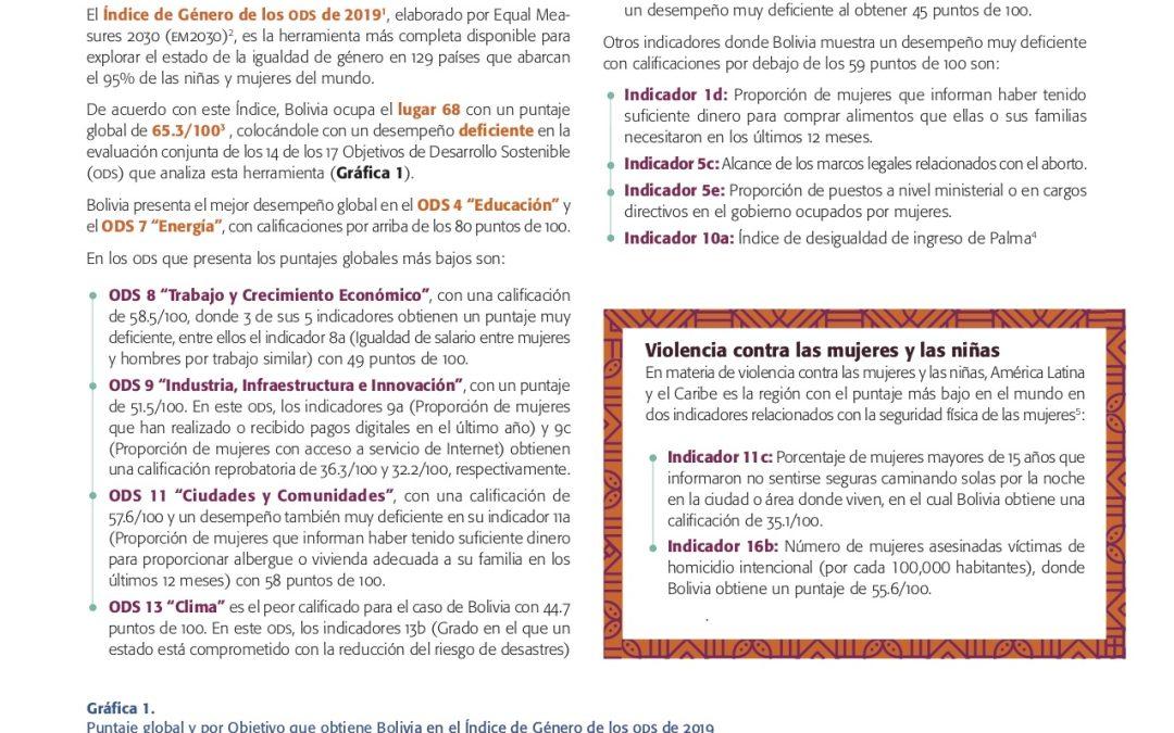 Avance de los derechos de las mujeres y las niñas a 25 años de Beijing, a la luz de los ODS y del Consenso de Montevideo ,Reporte: Bolivia