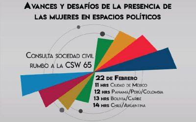 Consulta de sociedad civil rumbo a la CSW65. Avances y retrocesos en la participación de mujeres en espacios de decisión
